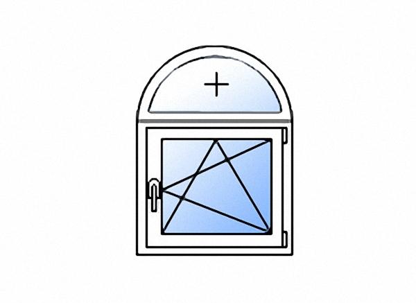 Арочное окно с одной створкой поворотно-откидное правое однокамерное