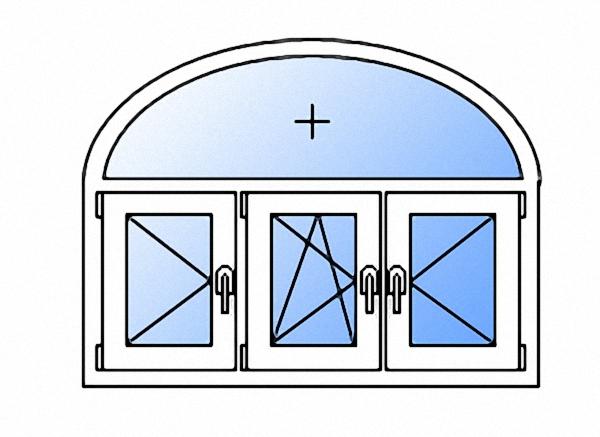Арочное окно с тремя створками поворотное левое/поворотно-откидное левое/поворотное правое двухкамерное