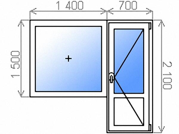 Балконный блок однокамерный с одностворчатым глухим окном 1400х1500 мм и поворотно-откидной балконной дверью 700х2100 мм