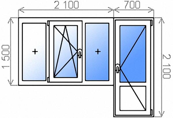 Балконный блок двухкамерный с трехстворчатым окном 2100х1500 мм и балконной дверью 700х2100 мм