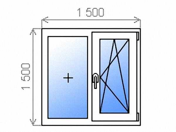 Пластиковое окно двухстворчатое глухое/поворотно-откидное правое двухкамерное 1500х1500 мм