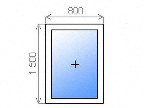 Окно глухое двухкамерное 800х1500 мм