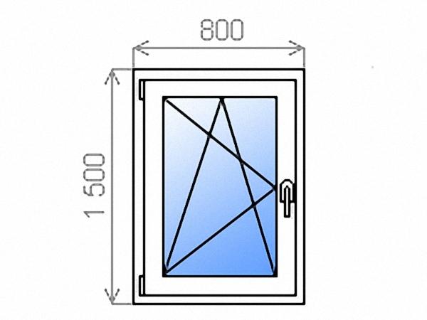 Одностворчатое окно поворотно-откидное левое однокамерное 800х1500 мм