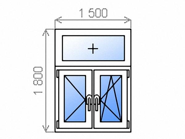Металлопластиковое окно Т-образное двухстворчатое поворотное левое/поворотно-откидное правое с фрамугой однокамерное 1500х1800 мм