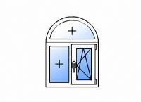 Цветное пластиковое арочное окно с двумя створками глухое/поворотно-откидное правое энергосберегающее двухкамерное