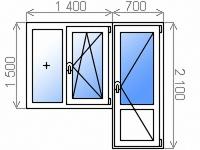 Цветной балконный блок энергосберегающий двухкамерный с двухстворчатым глухим/поворотно-откидным правым окном 1400х1500 мм и поворотно-откидной балконной дверью 700х2100 мм