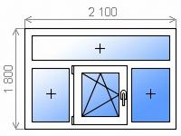 Цветное пластиковое окно трехстворчатое глухое/поворотно-откидное левое/глухое с фрамугой энергосберегающее двухкамерное 2100х1800 мм