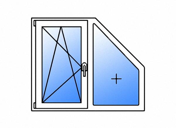 Трапециевидное окно двухстворчатое поворотно-откидное левое/глухое энергосберегающее двухкамерное