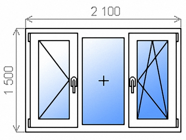 Окно ПВХ трехстворчатое поворотное левое/глухое/поворотно-откидное правое однокамерное 2100х1500 мм