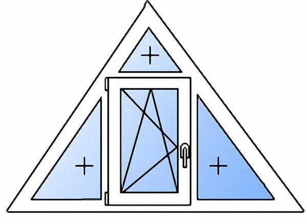 Треугольное окно одностворчатое с поворотно-откидной створкой энергосберегающее однокамерное